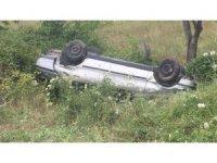 Yoldan çıkan otomobil takla attı: 4 yaralı