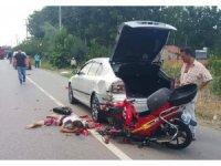 Otomobile arkadan çarpan motosikletin sürücüsü ağır yaralandı