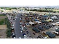 Kurban pazarındaki hareketlilik havadan görüntülendi