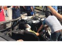 D100 karayolunda kamyona arkadan çarptı 2 kişi yaralandı