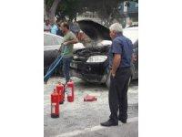 Seyir halinde alev alan araç paniğe neden oldu