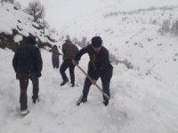 Köylüler kapanan yolu küreklerle açtı