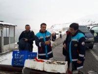 Buz tutan Engil Çayı'nda su ürünleri denetimi