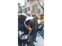 Ambulansın ulaşamadığı hastayı kepçeyle çıkardılar