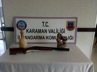 Jandarma, otomobilde tarihi eser ile tüfek ele geçirdi