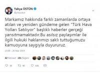 """THY Basın Müşaviri Üstün, """"Türk Hava Yolları Satılıyor"""" iddialarını yalanladı"""