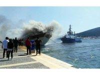 Tekne yangını kısmen kontrol altında