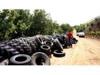 Atık araç lastikleriyle istinat duvarı