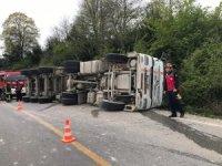 Kontrolden çıkan kamyon yol kenarına devrildi: 1 yaralı