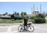 Bisikletli seyyah 8 günde İzmir'den Edirne'ye geldi