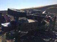 Anız yangınlarını söndürmek isteyen 3 traktör küle döndü