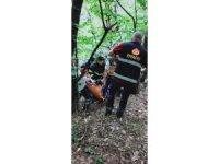 Ihlamur toplarken ağaçtan düşen genci itfaiye kurtardı