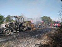 Biga'da saman yüklü traktör yandı