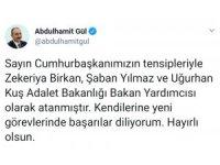 Adalet Bakanı Gül'den yeni yardımcılarına 'hayırlı olsun' mesajı
