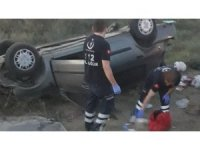 Takla atan otomobil şarampole düştü ve ters devrildi: 1'i ağır 5 yaralı