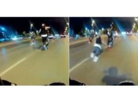 Pendik'te motosikletli magandanın tek teker kazası kamerada