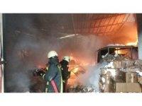 Samsun'da iş yeri alev alev yanıyor