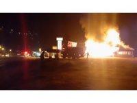 Çaykara'da restoran alev alev yandı