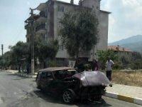 Hurdaya dönen otomobil sürücüsü ağır yaralandı