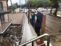 Çan'da şiddetli yağış sonrası Öz de çalışmalara katıldı