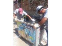 Turgutlu'da çöp konteynerlerine temizlik çalışması