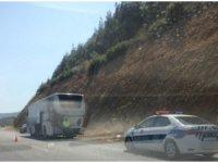 Test sürüşü yapılan boş yolcu otobüsünün motoru yandı