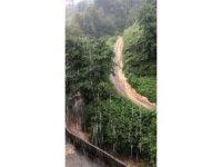 Rize'nin Derepazarı ilçesinde etkili olan yağış hayatı olumsuz etkiledi