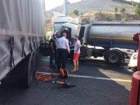 Freni patlayan tankerin sürücüsü faciayı önledi