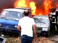 Yedi emin otoparkında korkutan yangın: 24 araç kül oldu