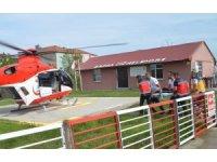 Kalp krizi geçiren mahkum için ambulans helikopter havalandı