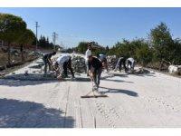 İnönü'de kilit taş çalışmaları devam ediyor