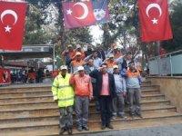 Temizlik işçilerinden görev öncesi Mehmetçiğe destek selamı