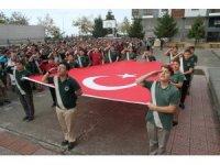 Çayeli'de tüm okullarda İstiklal Marşıı asker selamı verilerek okundu