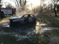 Elektrik aksamından çıkan yangın otomobili kül etti