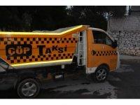 Bisikletli öğrenci çöp taksiye çarptı