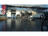 Rize'de yolcu otobüsü alev alev yandı