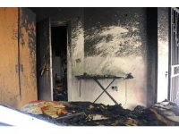 Evinin yandığını gören anne sinir krizi geçirdi