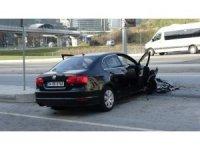 Sarıyer'de kontrolden çıkan araç trafiği birbirine kattı