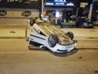 Bağdat Caddesi'nde bir otomobil takla attı