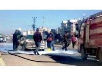 Şanlıurfa'da seyir halindeki araç alev aldı