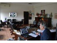 ilçe müdürleri ile telekonferansla toplantı