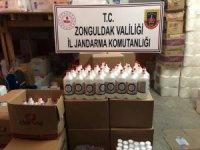 Zonguldak'ta 768 adet 1 litrelik sahte dezenfektan ele geçirildi