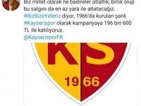 Kayserispor'dan Milli Dayanışma Kampanyası'na 196 bin 600 TL destek