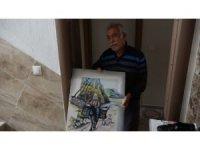 112'den malzeme siparişi veren 65 yaş üstü ressam, ekiplere tablo hediye etmek istedi