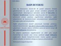 """Bursa Valiliği: """"Korona virüs tespit edilen 19 kişi taburcu oldu"""""""