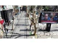 Korona tedbirleri kapsamında şerit çekilerek kapatılan Pendik Meydanı havadan görüntülendi