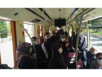 Eskişehirlilere korona vız geldi tramvay tıklım tıklım dolu gitti