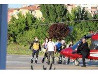 Hızarla elini kesen şahsın imdadına ambulans helikopter yetişti