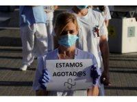 İspanya'da sağlık çalışanlarından protesto