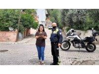 Motosikletli polisten İlayda'ya pastalı doğum günü sürprizi